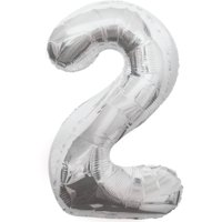 Foil Big Number Balloon, 2, 34 in, Silver, 1ct
