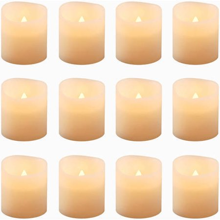Flickering Battery Operated LED Votive Candles, 12-Count