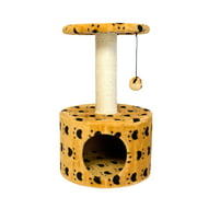 Iconic Pet Paw Print Sisal Cat Scratching Condo, Beige