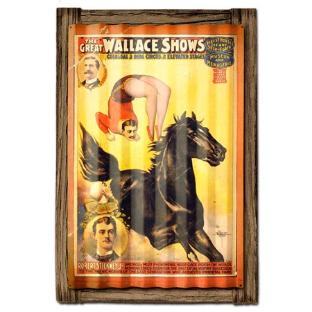 Past Time Signs PTSCWD45 24 x 16 in. Circus Black Horse Corrugated Metal Sign