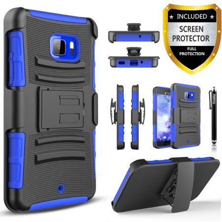 the latest ac765 fbffc HTC U Play Case, Dual Layers [Combo Holster] Case And Built-In Kickstand  Bundled with [Premium Screen Protector] Hybird Shockproof And Circlemalls  ...