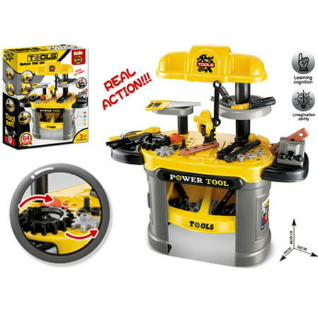 Tool Play Set for kids Yellow, Workbench for Kids, tool bench, Pretend Play, Ideal for little builders
