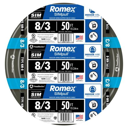 Romex 63949232 50 ft. 8/3 Black Stranded CU SIMpull NM-B Wire ()