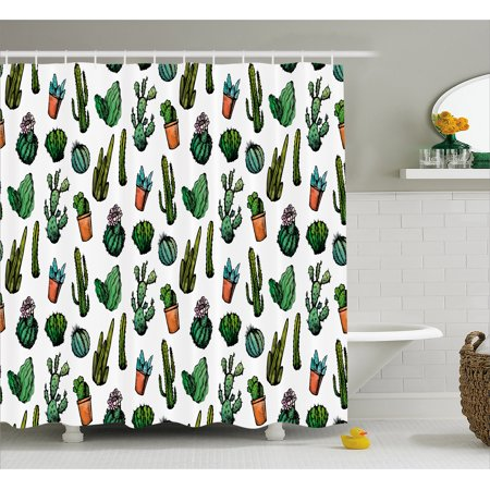 Cactus Shower Curtain Sketchy Spiked Mexican Garden Foliage Boho Hand Drawn Style Line Art Cacti