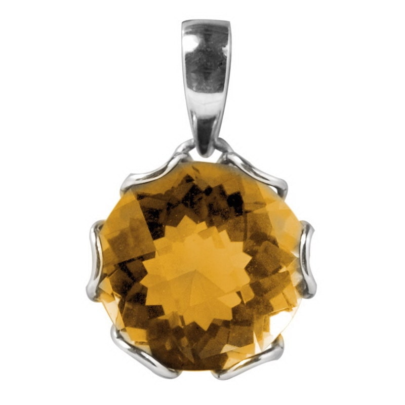 Sterling Arts Handmade Sterling Silver Round Basket Setting Citrine Pendant (Indonesia)