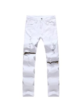 025764cbfd Product Image Men's Ripped Skinny Distressed Destroyed Slim Fit Jeans  Pencil Pants Zipper on knees 38