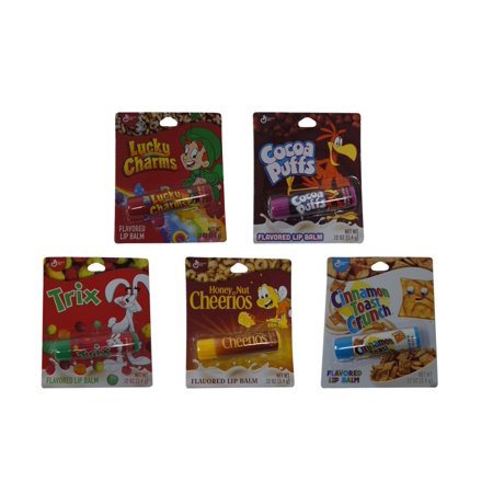 5 Pack Cereal Flavored Lip Balm Set - Cocoa Puffs, Cinnamon Toast Crunch, Lucky Charms, Honey Nut Cheerios, and -