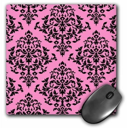 3dRose Stylish and fashionable pink damask print, Mouse Pad, 8 by 8 inches
