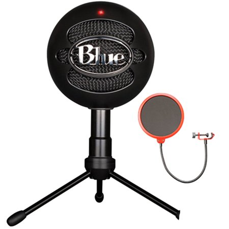 Blue Microphones Snowball iCE Versatile USB Microphone - Black (SNOWBALL iCE Black) with Universal Pop Filter Microphone Wind Screen with Mic Stand - Pop Star Microphone