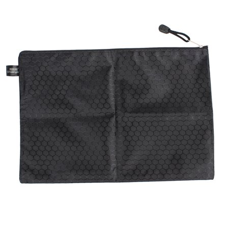 Unique Bargains 34cm Long Hexagon Pattern Nylon Zipper Closure Black A4 Paper Files