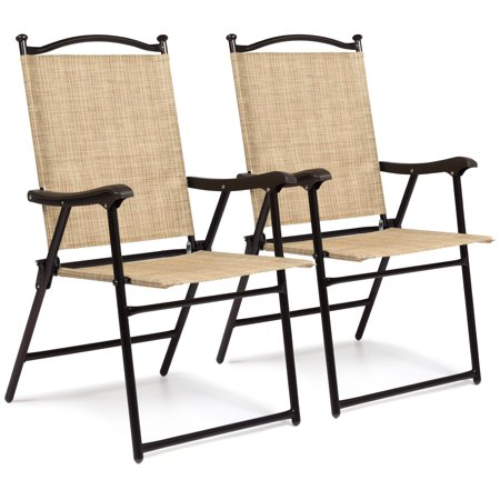 Best Choice Products Outdoor Mesh Fabric Folding Sling Back Chairs Set of 2 Cane Back Folding Chairs