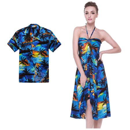 Couple Matching Hawaiian Luau Party Outfit Set Shirt Dress in Sunset Blue Men 2XL Women M
