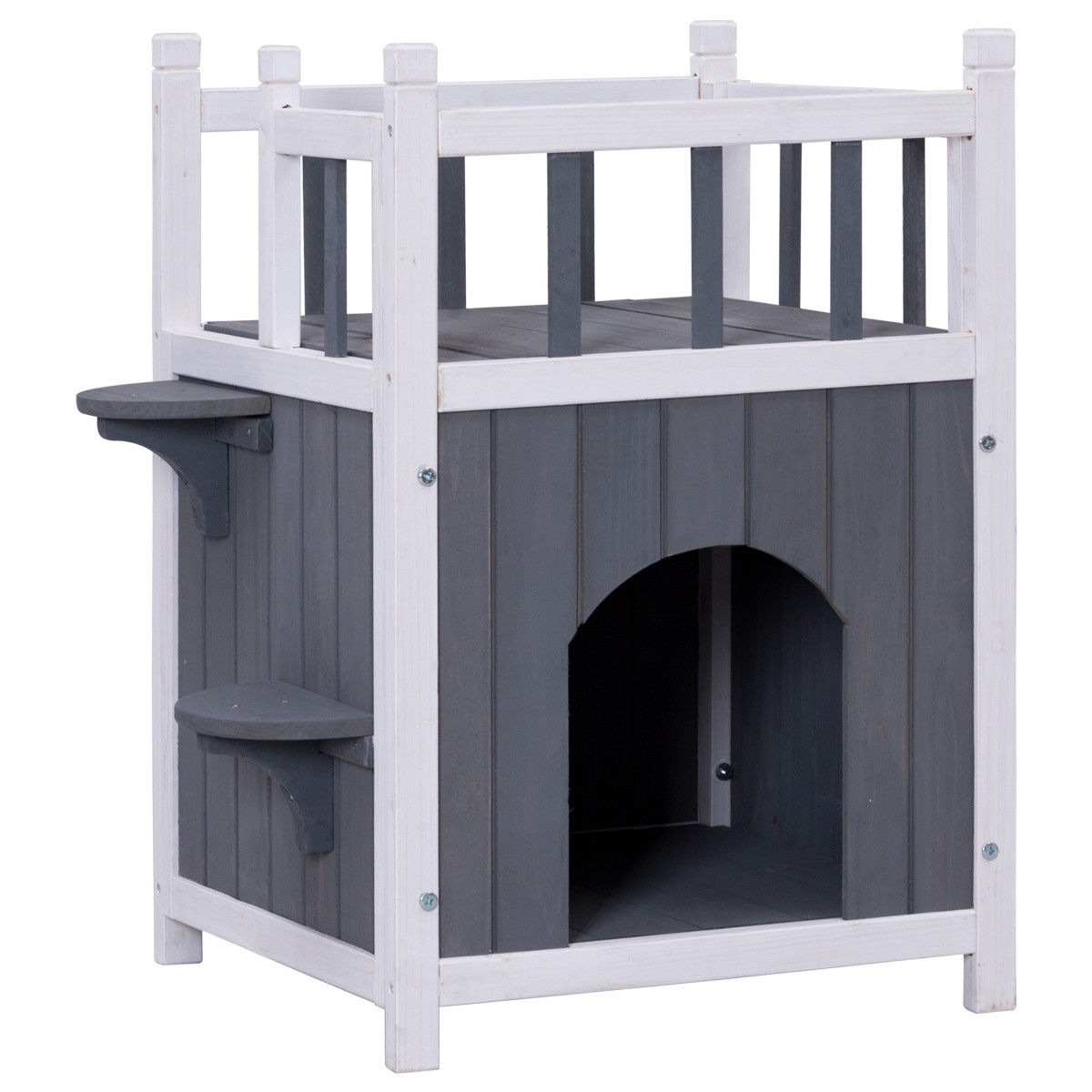 Gymax Wooden Cat Pet Home with Balcony Pet House Small Dog Indoor Outdoor Shelter - image 4 de 9