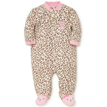 Baby Pajamas Winter Fleece Sleepers Footed Blanket Sleeper Footie Leopard Print Kitty 18 - Kids Leopard Onesie