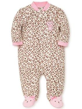 Baby Pajamas Winter Fleece Sleepers Footed Blanket Sleeper Footie Leopard Print Kitty 18 Month