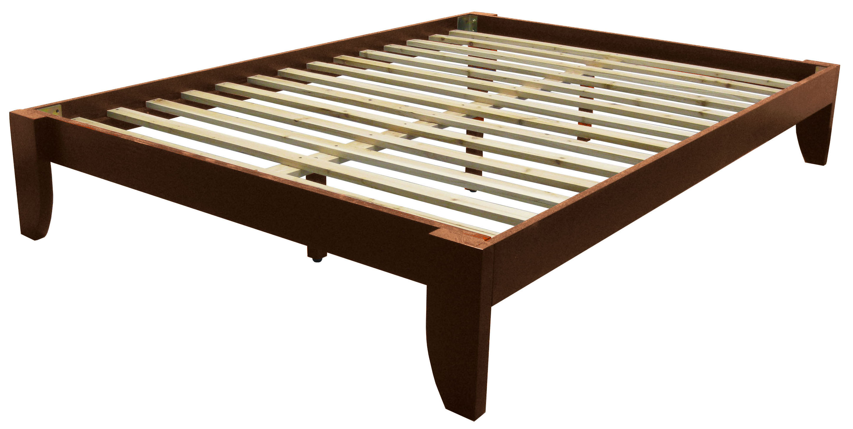 Everlast Solid Wood Bamboo Platform Bed Frame Queen Size Walnut Finish Walmart Com