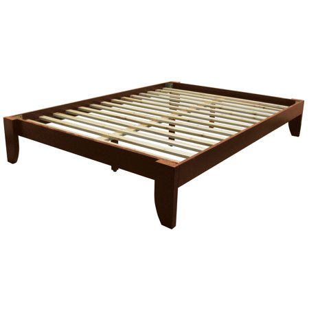 Everlast Solid Wood Bamboo Platform Bed Frame, Queen-size, Walnut Finish