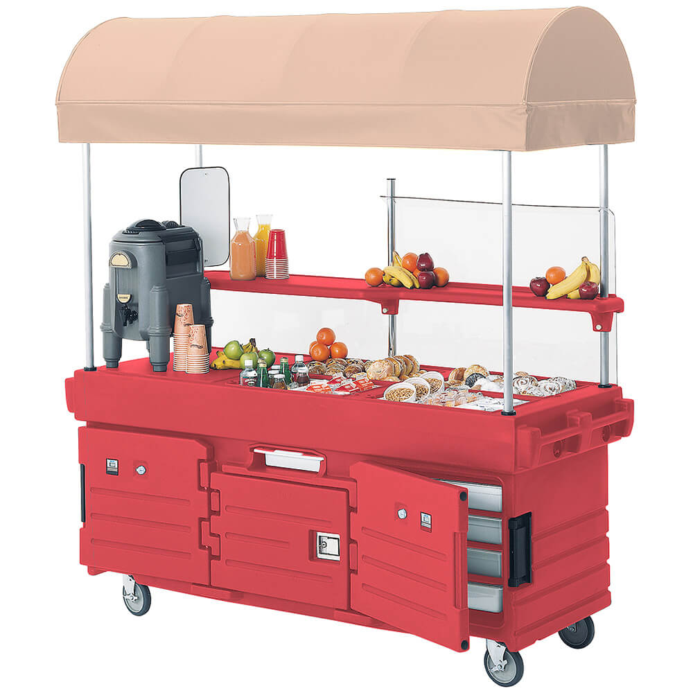 Cambro Mobile Food Kiosk with Canopy, 4 Food Pan Wells, H...