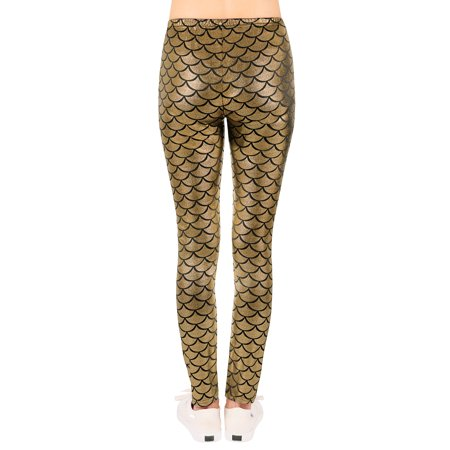 8760a199287936 HDE Girl's Shiny Fish Scale Mermaid Leggings Metallic Costume Tights  (4T-12)( ...