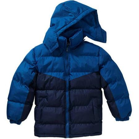 Climate Concepts Boys Fleece Lined Color Block Bubble Jacket with Detachable Hood