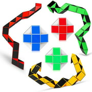 Magic Snake Cube Mini 5 Pack Twist Puzzle Collection Brain Teaser Toy Snake Ruler Fidget Toys Sets for Kids Stocking Stuffers Party Favors Goodie Bags Fillers Game Geometric