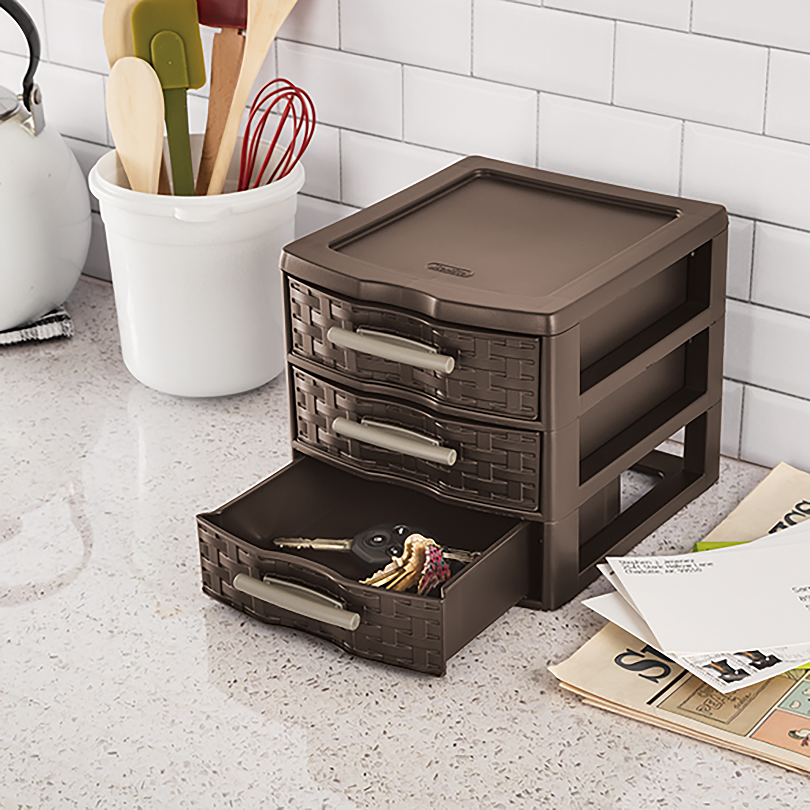 "Sterilite Small Weave 3 Drawer Storage Unit-8.625""X7.25""X6.875"" Espresso"