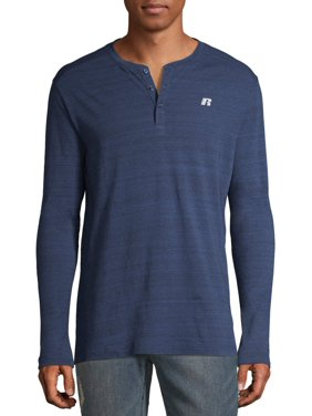 Russell Exclusive Men's and Big Men's Long Sleeve Henley, up to 3XL