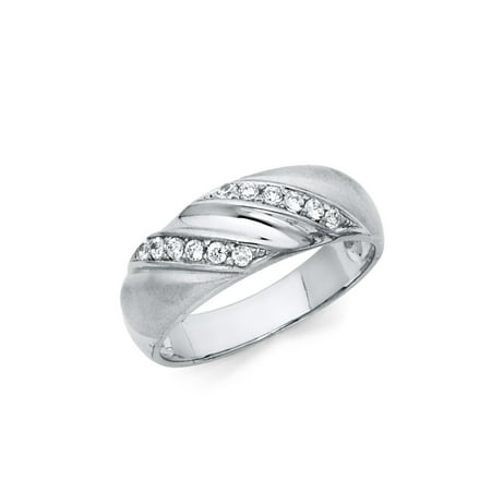 Jewels By Lux 925 Sterling Silver Ring Prong Set Round CZ Cubic Zirconia Mens Anniversary Wedding Band Size 8