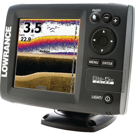 Lowrance Elite-5X CHIRP Fishfinder with 50/200 455/800 Transducer/Built-In GPS Antenna/Detailed U.S. Mapping