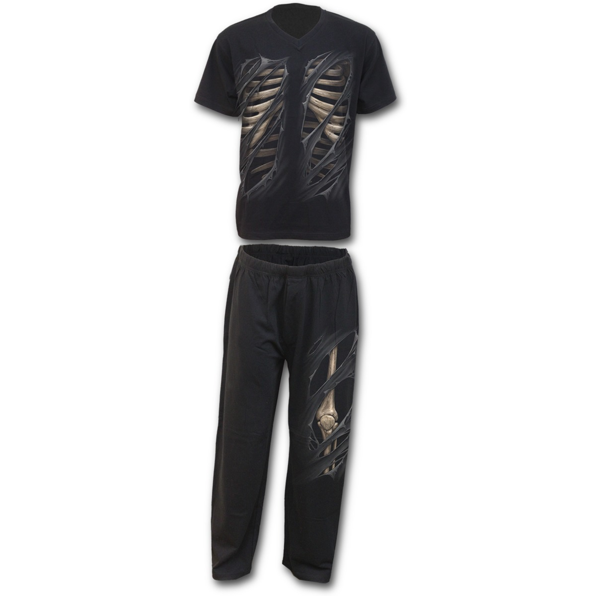 Spiral Direct BONE RIPS Cotton 4pc Mens Gothic Pyjama Set...