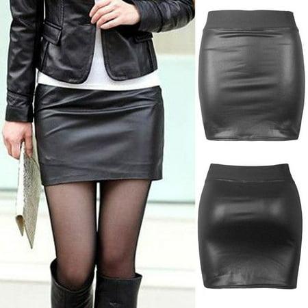 Women Sexy Black PU Leather Pencil Bodycon High Waist Mini Dress Short Skirt