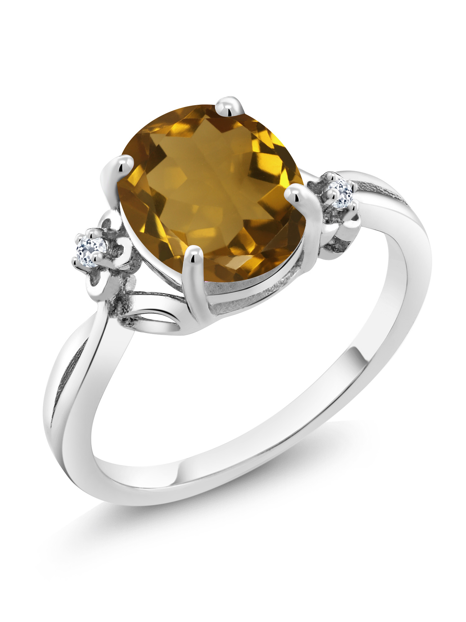 2.04 Ct Oval Whiskey Quartz White Topaz 925 Sterling Silver Ring