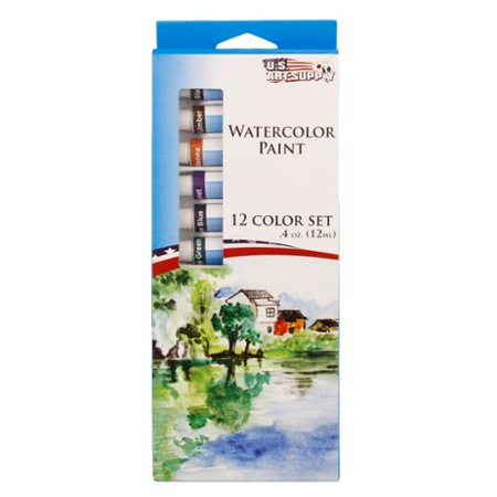 US Art Supply® 12 Color 10ml Tube Artist Watercolor Paint Set Quick Drying](Watercolor Supplies)