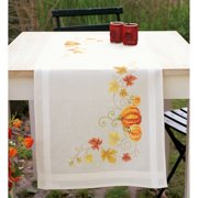 "Pumpkins Table Runner Stamped Cross Stitch Kit-16""X40"""