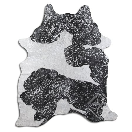 Real Cowhide Rug ACID WASHED HAIR ON COWHI SILVER METALLIC ON BLACK AN