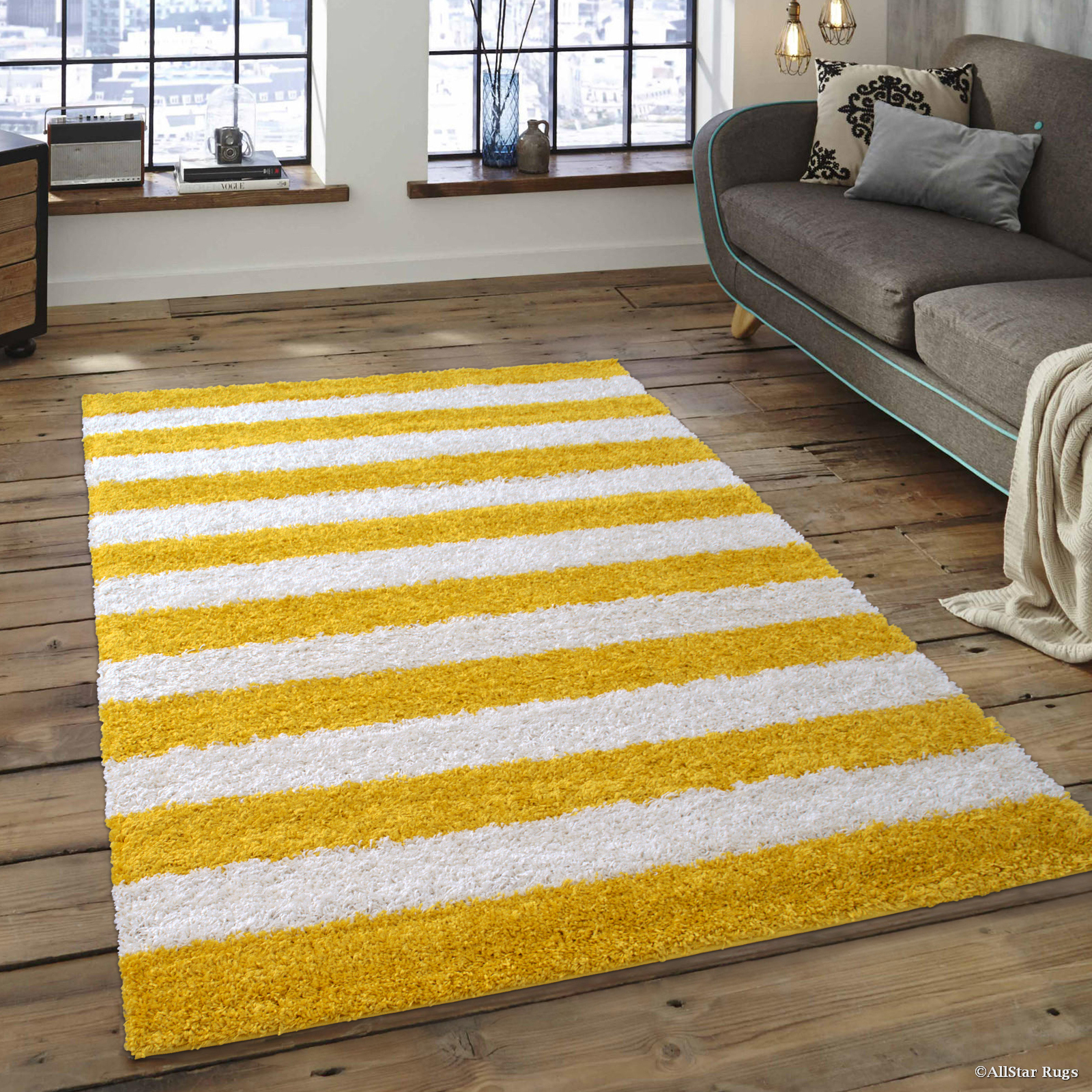 "Allstar Modern Contemporary Canary High Pile Posh and Shaggy Striped Area Rug (5' 0"" x 7' 0"")"