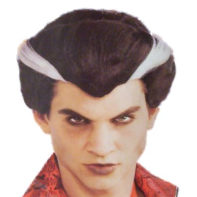 Mens Vampire Wig (Adult Mens Vampire Wig Black with Gray Streaks & Widows)