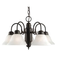 Design House 514455 Millbridge Traditional 5-Light Indoor Dimmable Chandelier with Alabaster Glass Shades for Entryway Foyer Dining Room, Oil Rubbed Bronze