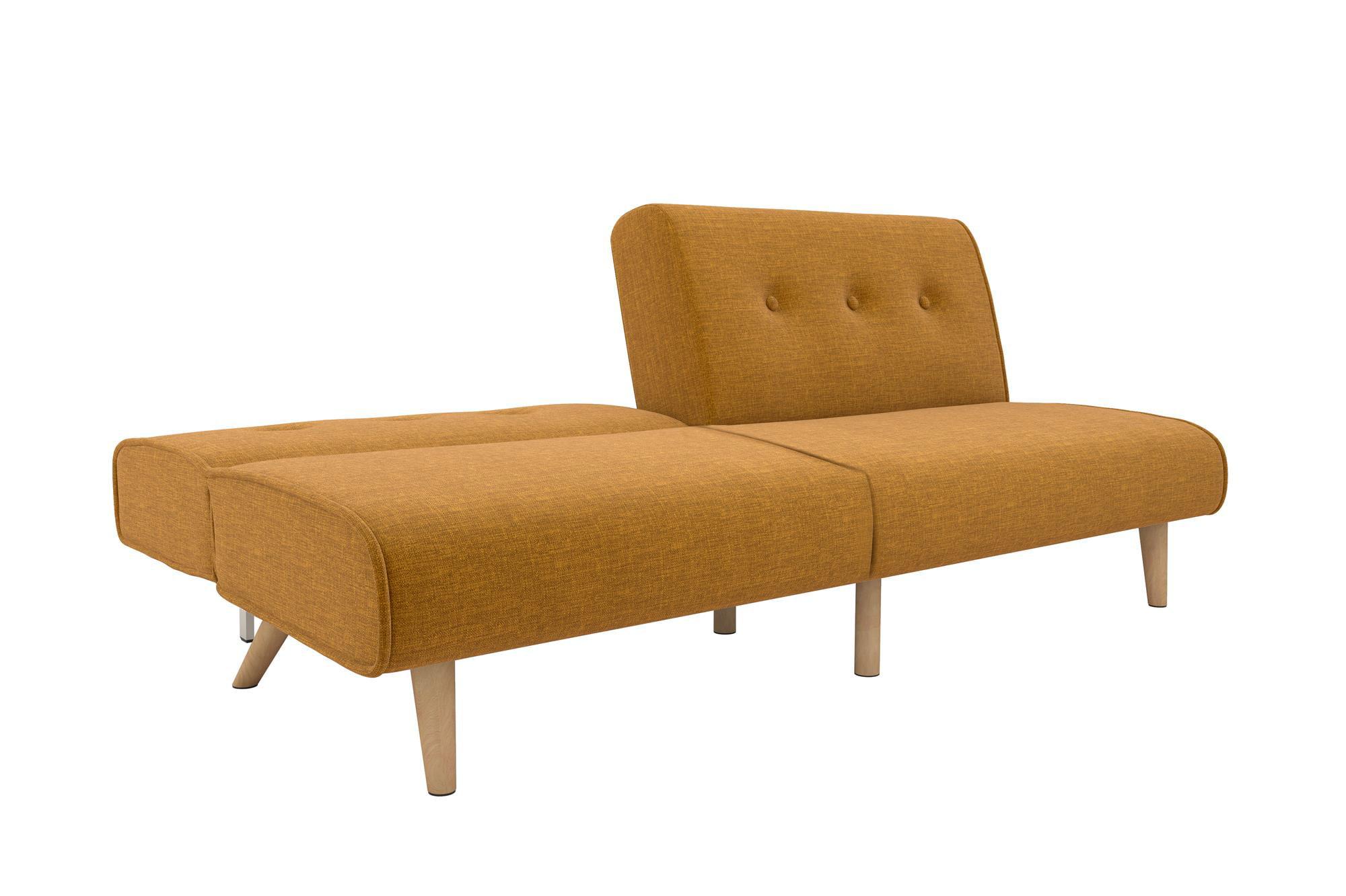 Split Futon Sofa Sleeper Couch Longer Upholstery Living Room Studio Guest Yellow