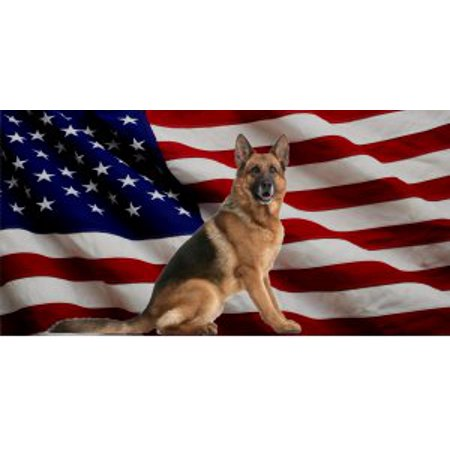 German Shepherd Dog On United States Flag Photo License Plate - Flag Embossed License Plate