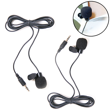 HDE 2 Pack 3.5mm Lavalier Microphone Mini Hands Free Clip On Lapel Mic for Smartphones Cameras Recorders PCs and More