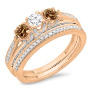1.00 Carat (ctw) 14K Rose Gold Round Cut Champagne   White Diamond Ladies Bridal 3 Stone Engagement