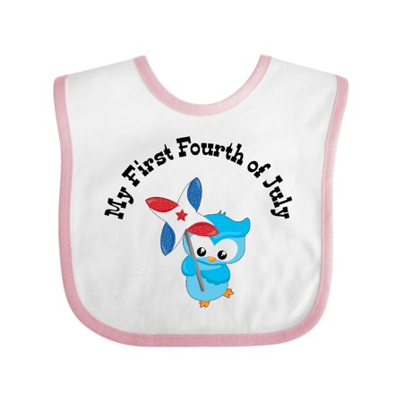 My First Fourth of July- cute owl with pinwheel Baby Bib White/Pink One Size