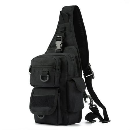 Barbarians Tactical Sling Bag Pack with Pistol Holster, Military Shoulder Bag Satchel, Range Bag Daypack Backpack