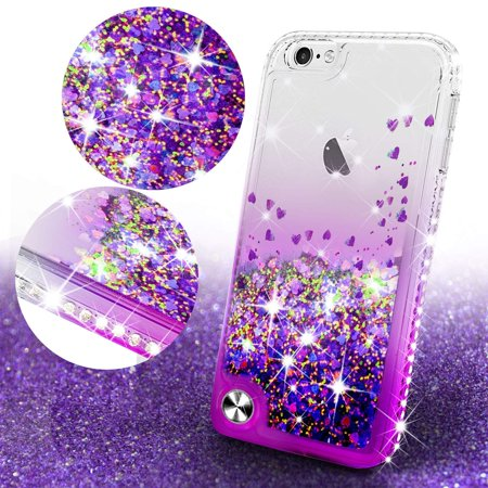 Apple iPod Touch 6 Case, iPod 6/5 Case [Tempered Glass Screen Protector],Glitter Liquid Quicksand Waterfall Bling Sparkle Diamond Case For Apple iPod Touch 5/6th Generation (Clear/Pink) - image 4 of 5