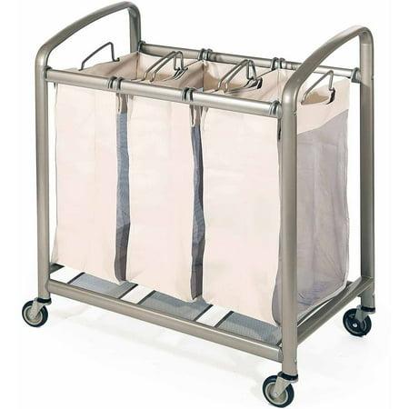 - Deluxe Mobile 3-Bag Heavy-Duty Laundry Hamper Sorter Cart by Seville Classics