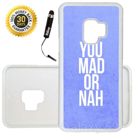 Mad Custom Cherry - Custom Galaxy S9 Case (You mad or nah) Edge-to-Edge Rubber White Cover Ultra Slim | Lightweight | Includes Stylus Pen by Innosub