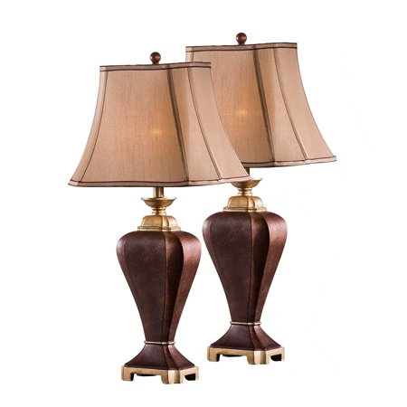 Lyra Table Lamp Set, Coffee Body & Light Brown Fabric Rectangle Shade, Traditional, (Set Of (Light Brown Traditional Bamboo)