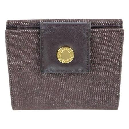 BVLGARI Denim Compact Wallet 4mj922 Burgundy/Brown