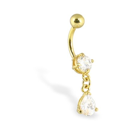 Gold Tone Belly Button Ring With Dangling Teardrop